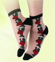 Retro Rose Tattoo Embroidered Crystal Lace Socks - The Urban Doll