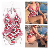 Ruffled Rose One Piece Swimsuit - The Urban Doll