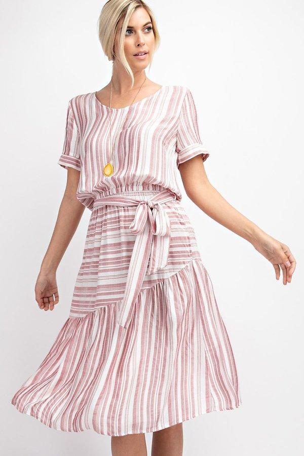 Yarn Dye Stripe Tiered Dress with Waist Tie