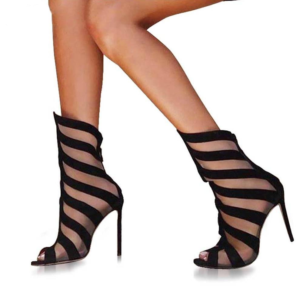 Sculpted Silk and Flock Stripe Peep Toe High Heel Ankle Booties - The Urban Doll