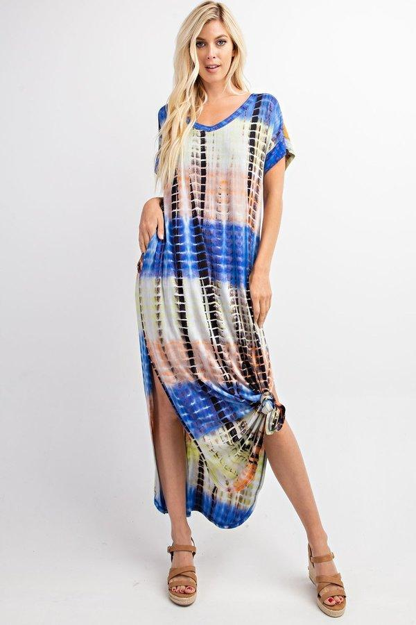Short Sleeve Tie-Dye Maxi with Side Pockets - The Urban Doll