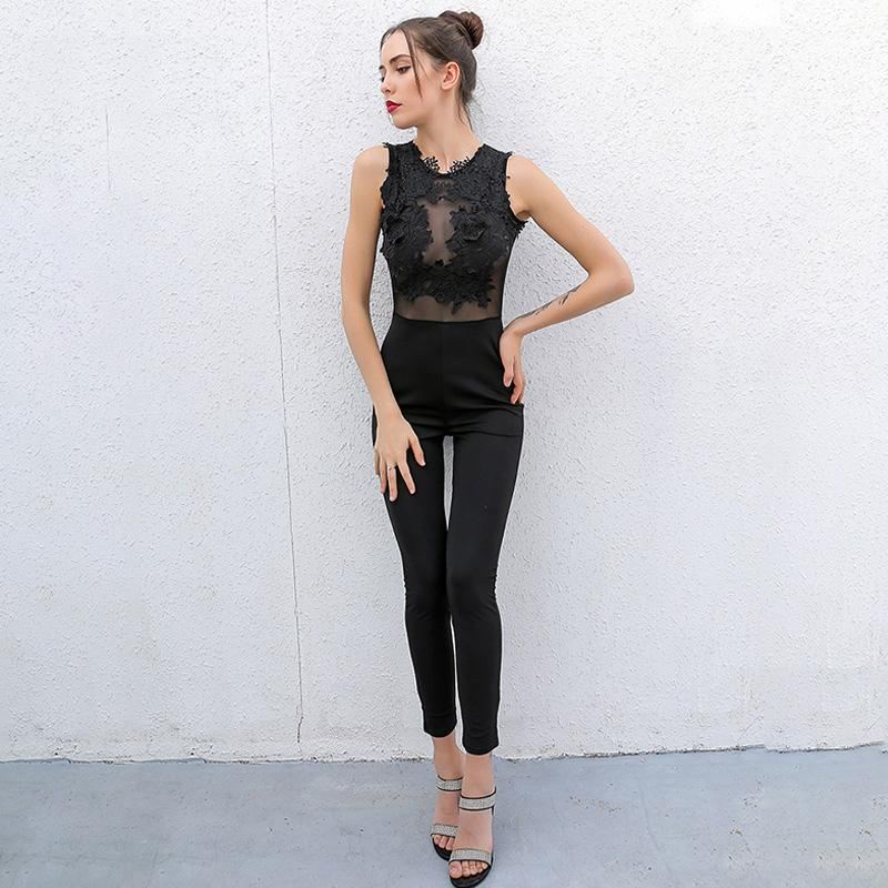 Sleeveless Mesh Lace Womens Jumpsuit - The Urban Doll