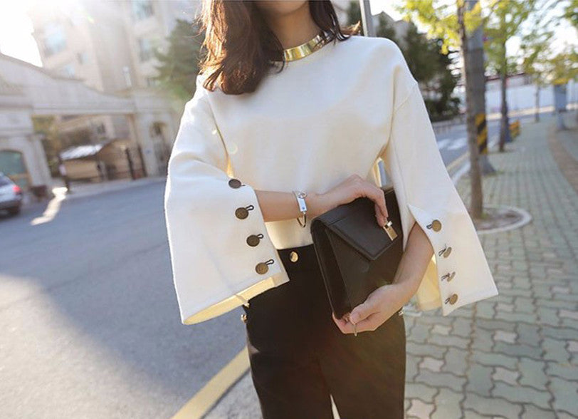 Split Sleeve Blouse - The Urban Doll