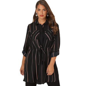 Striped Long Sleeve Plus Size Dress Shirt - The Urban Doll