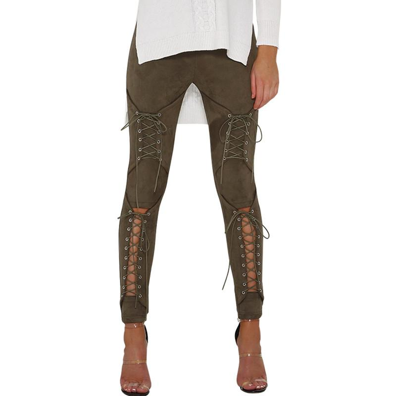 Suede Front Corset Leggings - The Urban Doll