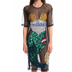 True Love Mermaid Stretch Mesh Dress - The Urban Doll