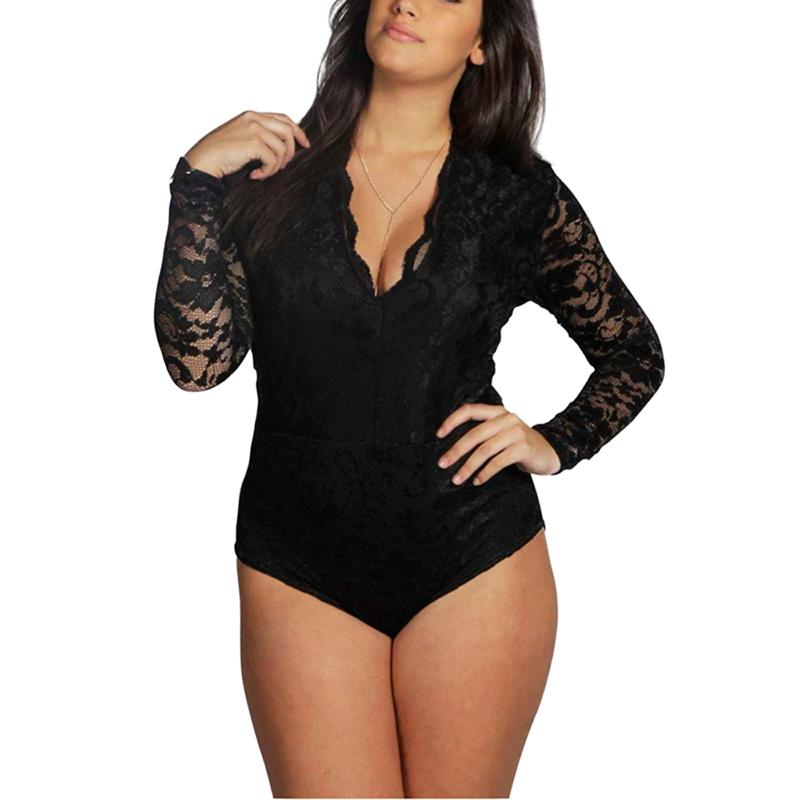 V-Neck Long Sleeve Plus Size Lace Bodysuit - The Urban Doll