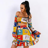 Vintage Horse Off Shoulder Two Piece Dress - The Urban Doll