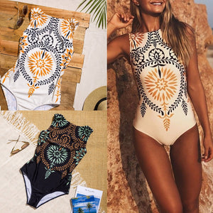 Vintage Medallion Print One Piece Swimsuit