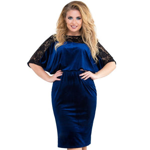 Vintage Velvet and Lace Plus Size Sheath Dress - The Urban Doll