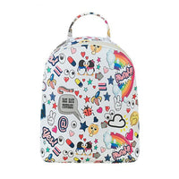 White Faux Leather Graffiti Print Mini Backpack - The Urban Doll