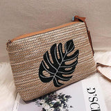 Palm Print Woven Straw Shoulder Bag - The Urban Doll