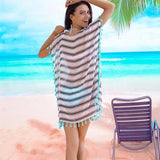 Tassel Striped Swimsuit Cover Up - The Urban Doll