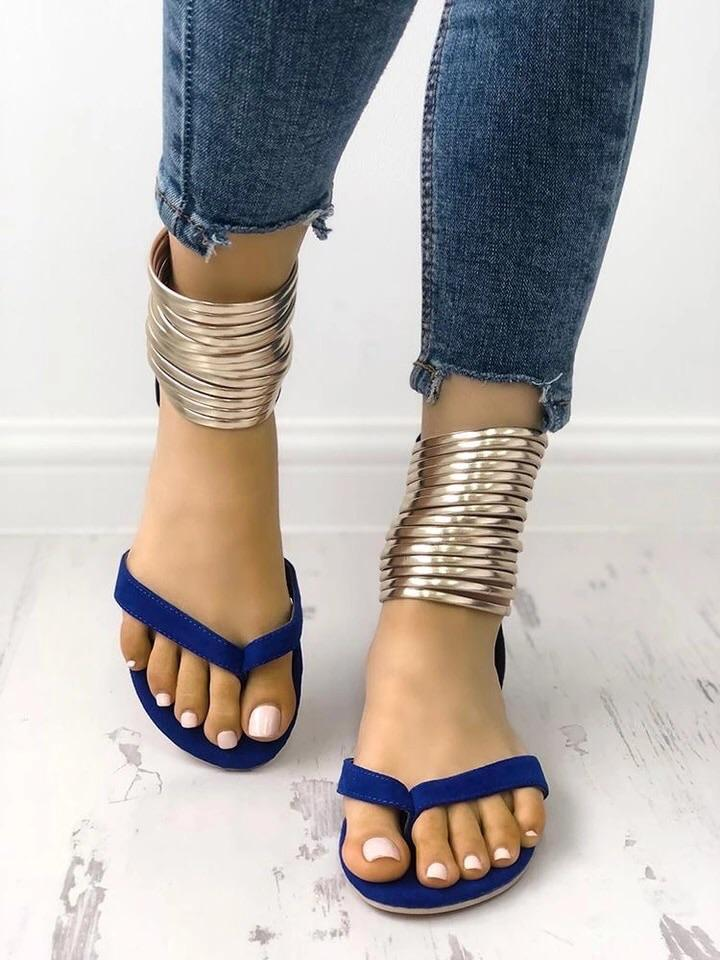 32c2c998eba Gold Rings Ankle Strap Gladiator Sandals (3 Colors)