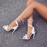 White Ruffle Lace Up High Heel Sandals