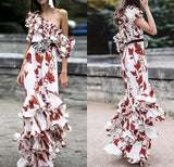 Floral Print One-shoulder Cascading Ruffle Dress - The Urban Doll