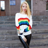 Rainbow Loose Knit Pullover - The Urban Doll