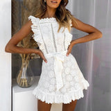 White Ruffle Floral Lace Mini Dress - The Urban Doll