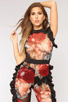 Black Ruffle Floral Mesh Jumpsuit - The Urban Doll