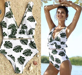 Palm Print Ruffle One Piece Swimsuit - The Urban Doll