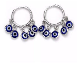 Blue Evil Eye Charms Hoop Earrings - The Urban Doll