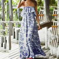 Porcelain Print Strapless Maxi Dress - The Urban Doll