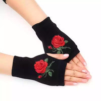 Rose Embroidered Fingerless Knit Gloves - The Urban Doll