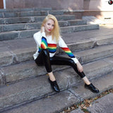 Rainbow Loose Knit Pullover at The Urban Doll