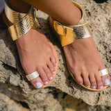 Metallic Ankle Strap Gladiator Sandals (2 Colors) - The Urban Doll