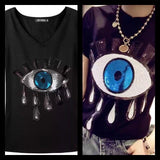 Sequin Evil Eye V-Neck Tee (3 Colors) - The Urban Doll