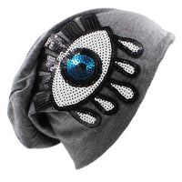 Sequin Evil Eye Beanie (5 Colors) - The Urban Doll