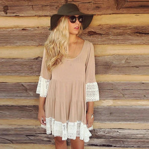 Bohemian Lace Tiered Tunic Dress - The Urban Doll