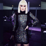 Black Velvet Multi-Color Sequin Long Sleeve Sheath Dress - The Urban Doll
