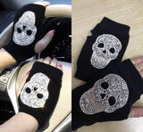 Sugar Skull Crystal Gloves