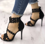 Black Hollowed Out Open Toe Pumps - The Urban Doll