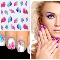 Colorful Boho Feather Nail Water Decals - The Urban Doll