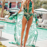 Banana Leaf Chiffon Beach Kimono - The Urban Doll