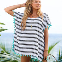 Tassel Striped Swimsuit Cover Up