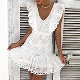 Loren White Eyelet Lace Mini Dress - The Urban Doll