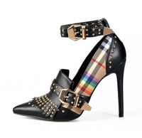 Riveted Tartan Ankle Strap Heels (2 Colors)