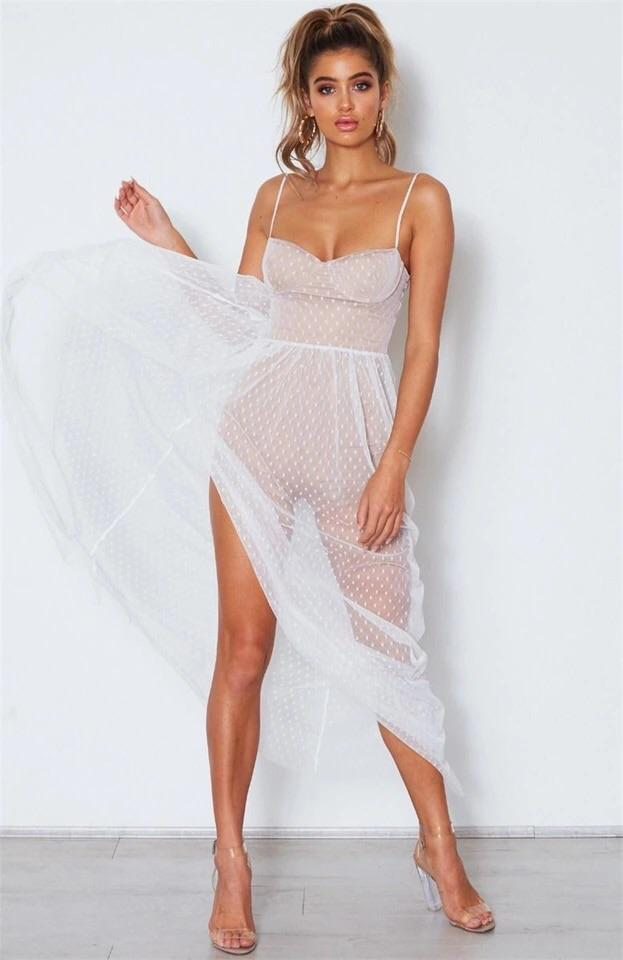 Sparkle Mesh Split Leg Maxi Dress (2 Colors) - The Urban Doll