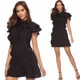 Grace Short Sleeve Ruffle Cocktail Dress (7 Colors) - The Urban Doll