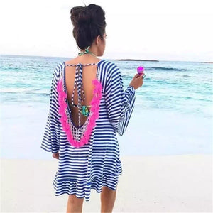 Striped Pink Tassel Swimsuit Cover Up - The Urban Doll