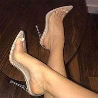 Barely There Clear Nude High Heels - The Urban Doll