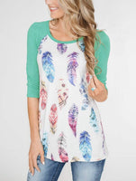 Boho Feather Raglan Top (4 Colors) - The Urban Doll