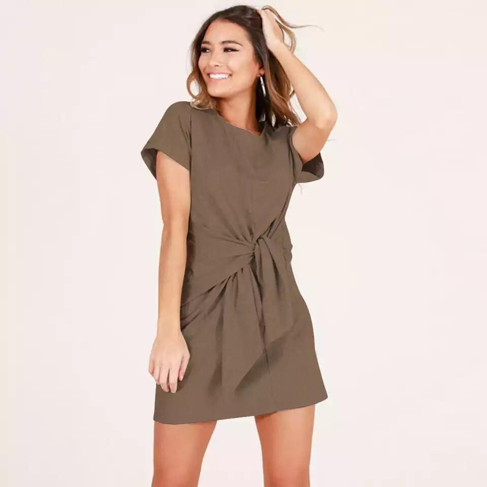 Tie Knot Short Sleeve Casual Dress (9 Colors)