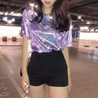 Sparkly Holographic Short Sleeved Top (6 Colors) - The Urban Doll