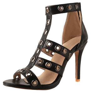Strappy Grommet High Heel Sandals (3 Colors)
