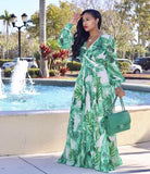 Chiffon Palm Print Long Sleeve Maxi Dress - The Urban Doll