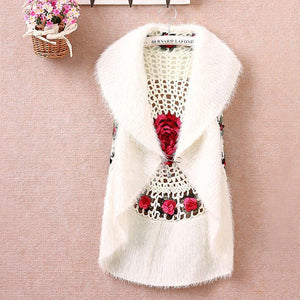Rose Crochet Cotton and Wool Vest